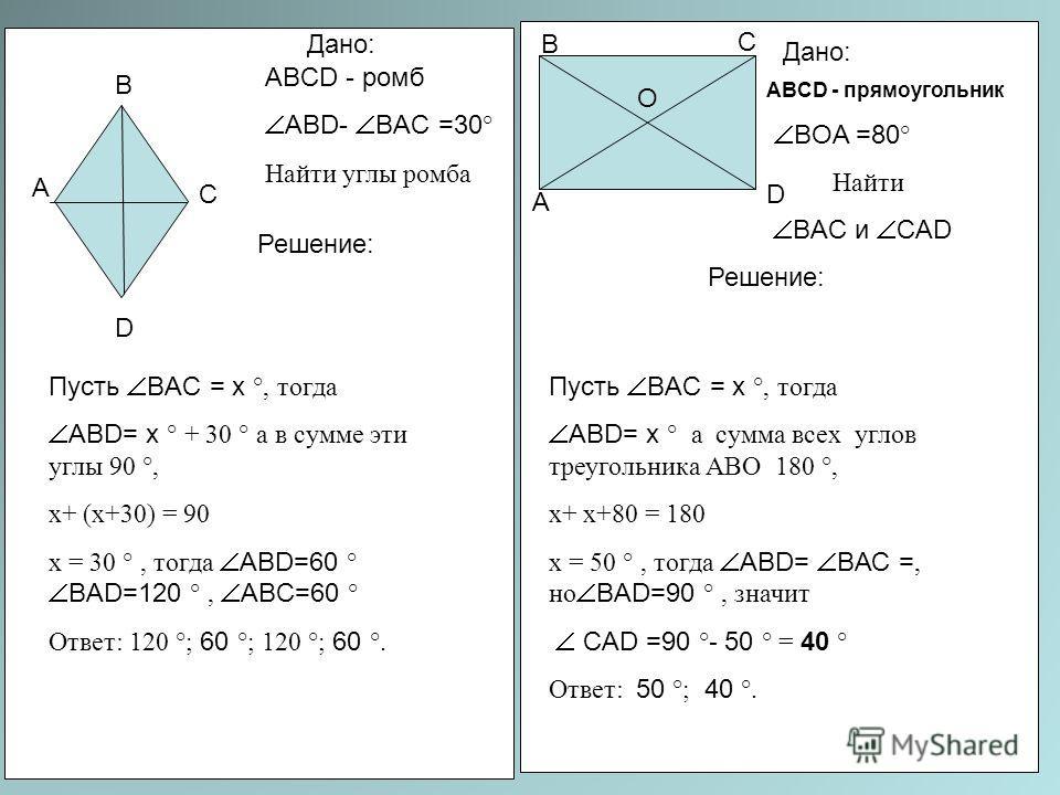 А В С D ABCD - ромб ABD- BAC =30 ° Найти углы ромба Решение: Дано: Пусть BAC = х °, тогда ABD= х ° + 30 ° а в сумме эти углы 90 °, х+ (х+30) = 90 х = 30 °, тогда ABD=60 ° BАD=120 °, ABС=60 ° Ответ: 120 °; 60 °; 120 °; 60 °. ABCD - прямоугольник BОA =
