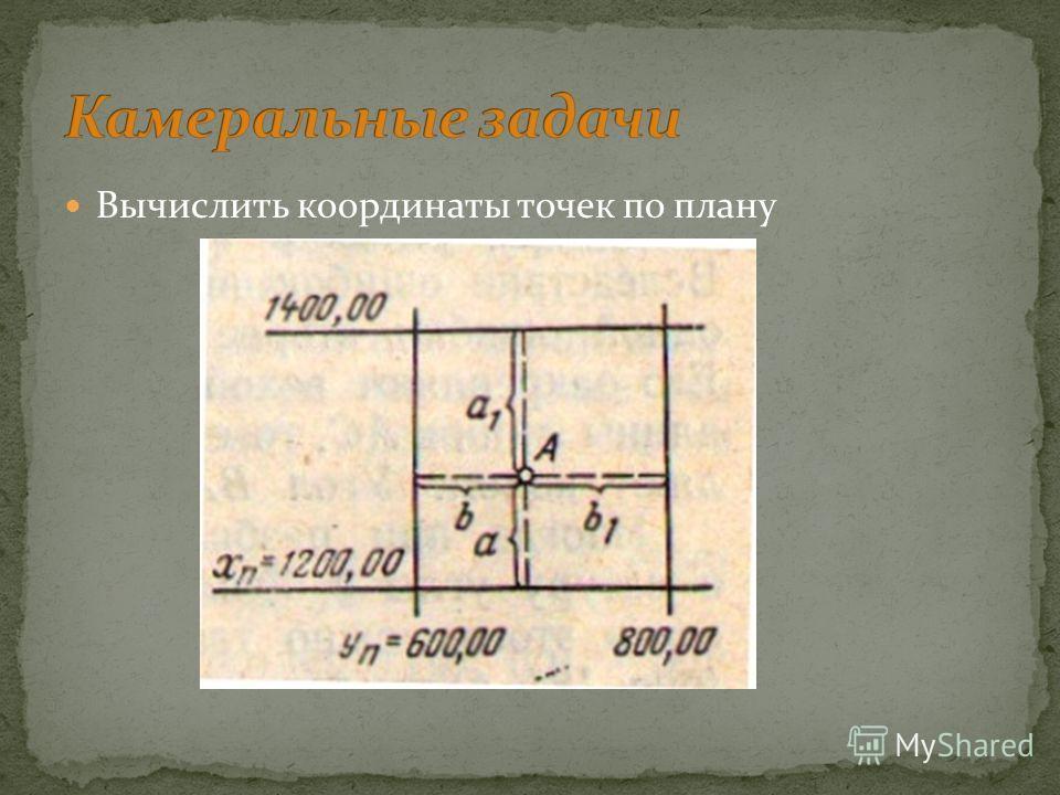 Вычислить координаты точек по плану