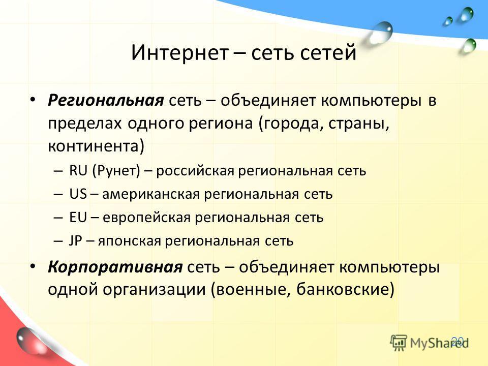 Интернет – сеть сетей Региональная сеть – объединяет компьютеры в пределах одного региона (города, страны, континента) – RU (Рунет) – российская региональная сеть – US – американская региональная сеть – EU – европейская региональная сеть – JP – японс