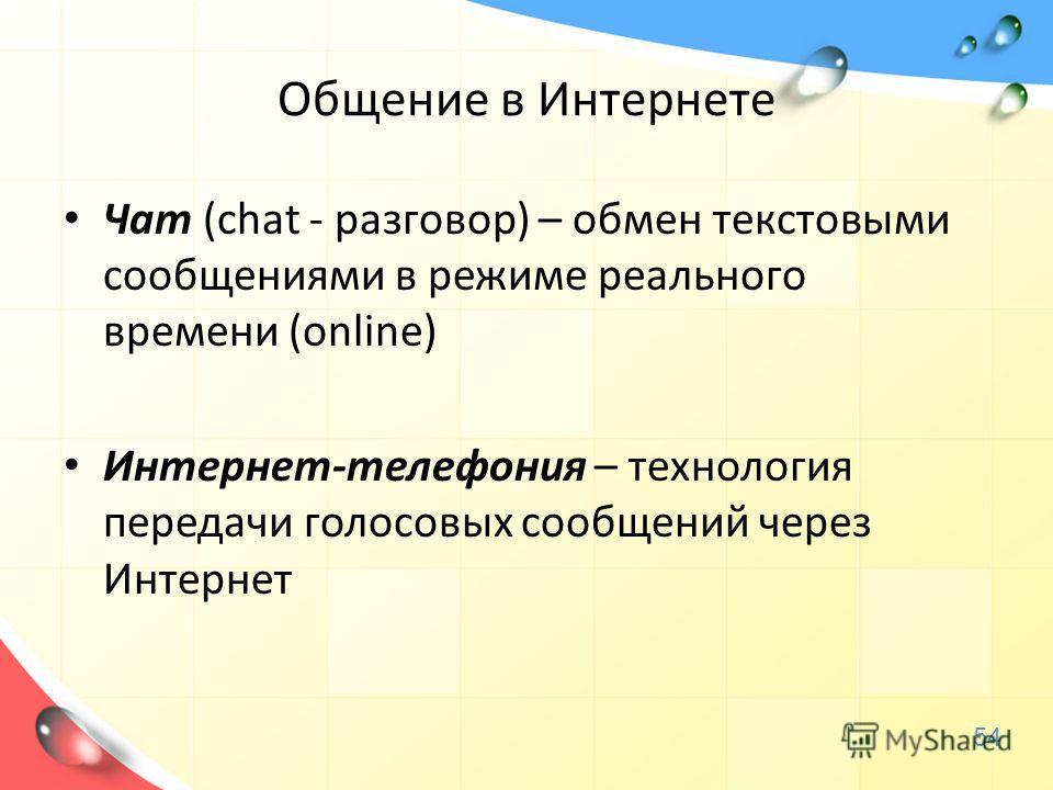 Общение в Интернете Чат (chat - разговор) – обмен текстовыми сообщениями в режиме реального времени (online) Интернет-телефония – технология передачи голосовых сообщений через Интернет 54