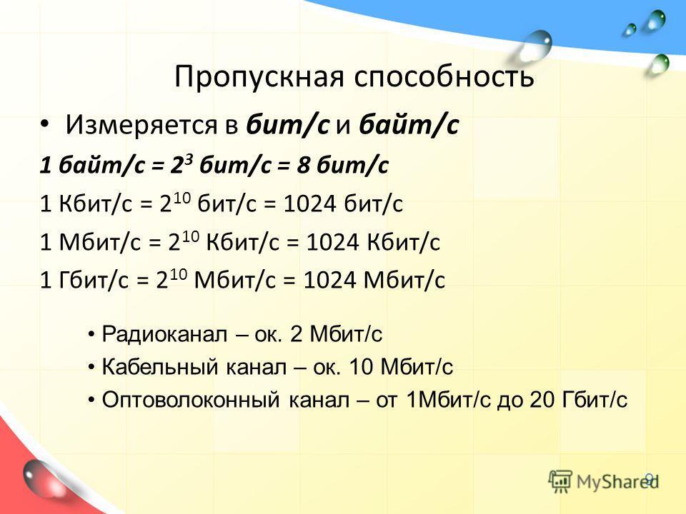 Измеряется в бит/с и байт/с 1 байт/с = 2 3 бит/с = 8 бит/с 1 Кбит/с = 2 10 бит/с = 1024 бит/с 1 Мбит/с = 2 10 Кбит/с = 1024 Кбит/с 1 Гбит/с = 2 10 Мбит/с = 1024 Мбит/с Радиоканал – ок. 2 Мбит/с Кабельный канал – ок. 10 Мбит/с Оптоволоконный канал – о