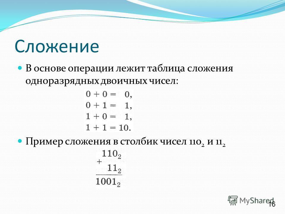 Сложение В основе операции лежит таблица сложения одноразрядных двоичных чисел: Пример сложения в столбик чисел 110 2 и 11 2 16