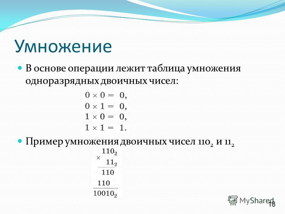 Умножение В основе операции лежит таблица умножения одноразрядных двоичных чисел: Пример умножения двоичных чисел 110 2 и 11 2 18