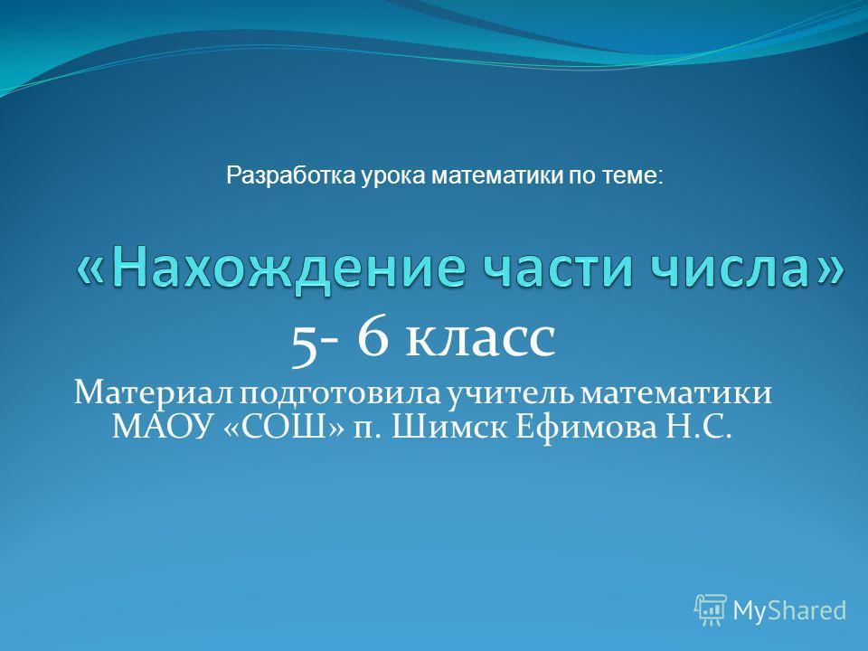 5- 6 класс Материал подготовила учитель математики МАОУ «СОШ» п. Шимск Ефимова Н.С. Разработка урока математики по теме: