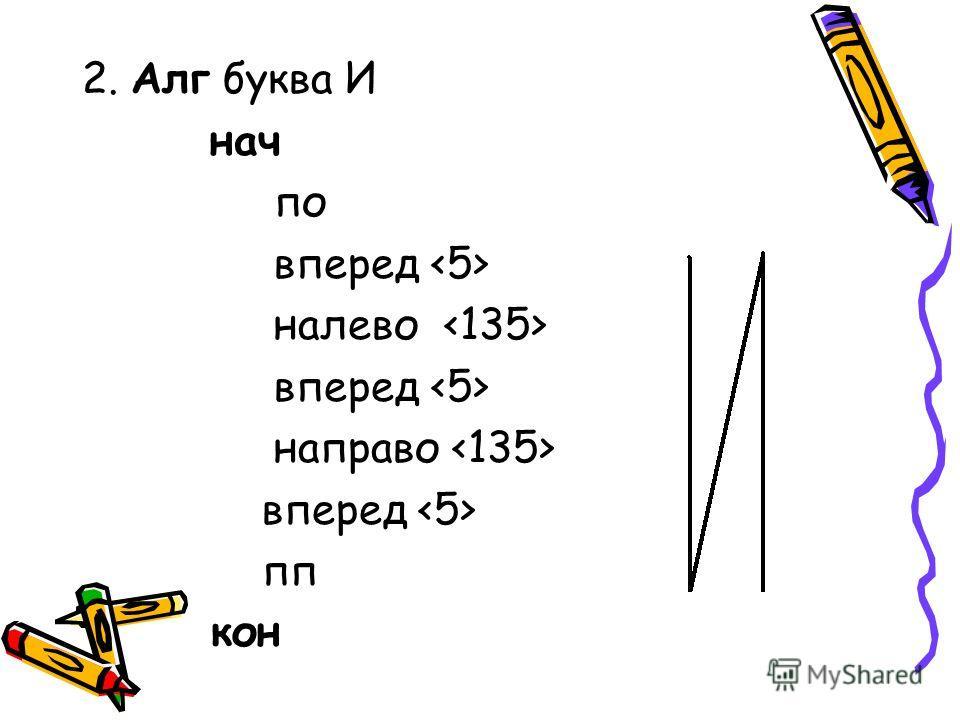 2. Алг буква И нач по вперед налево вперед направо вперед пп кон