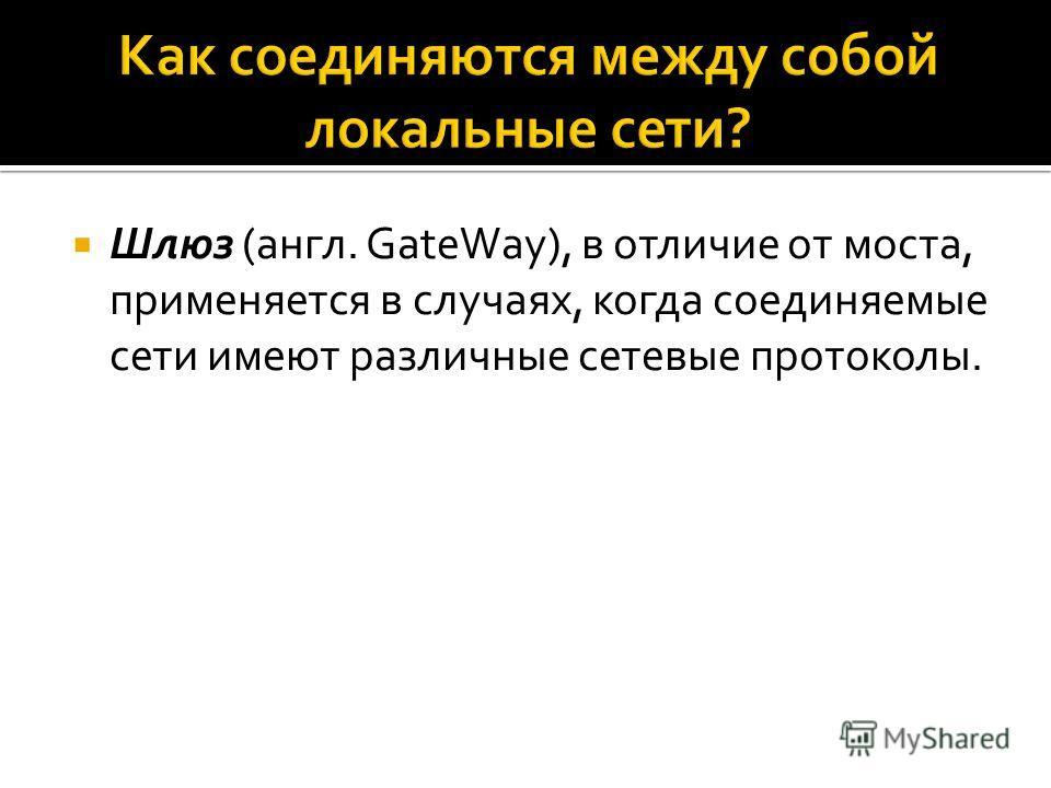 Шлюз (англ. GateWay), в отличие от моста, применяется в случаях, когда соединяемые сети имеют различные сетевые протоколы.