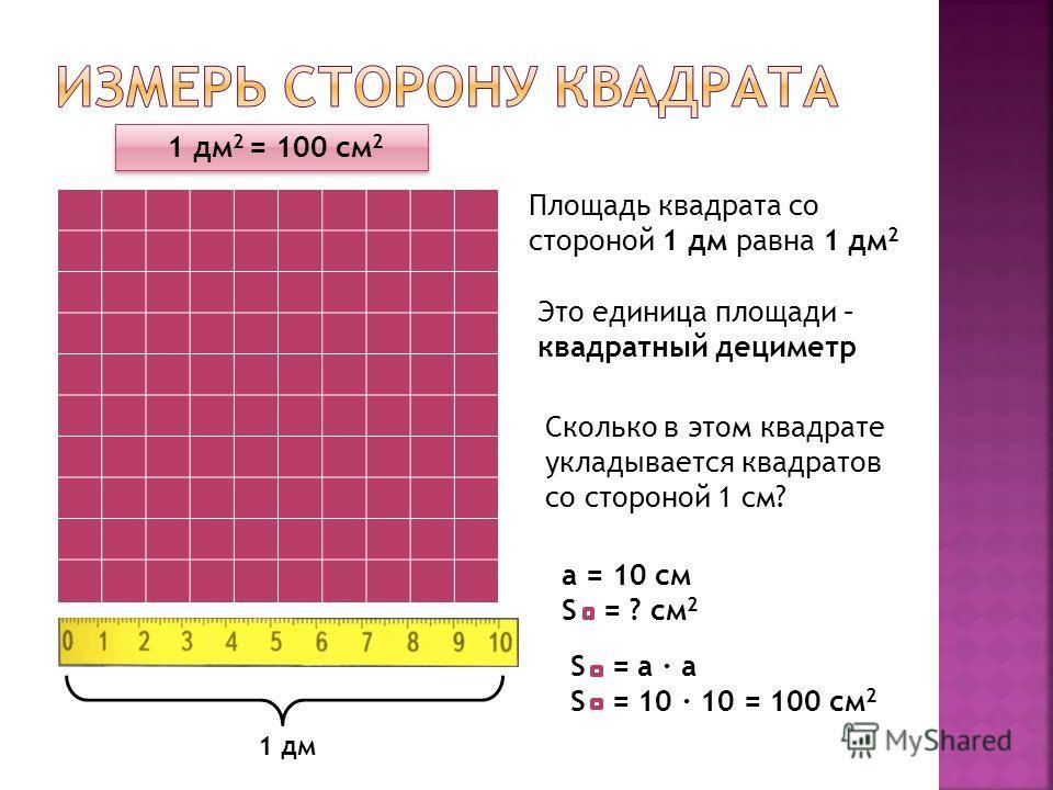 Площадь квадрата со стороной 1 дм равна 1 дм 2 Это единица площади – квадратный дециметр Сколько в этом квадрате укладывается квадратов со стороной 1 см? 1 дм 1 дм 2 = 100 см 2 a = 10 см S = ? см 2 S = a · a S = 10 · 10 = 100 см 2