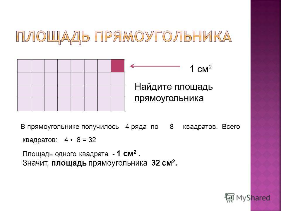 1 см 2 Найдите площадь прямоугольника В прямоугольнике получилось 4 ряда по8квадратов. Всего квадратов:4 8 = 32 Площадь одного квадрата - 1 см 2. Значит, площадь прямоугольника 32 см 2.