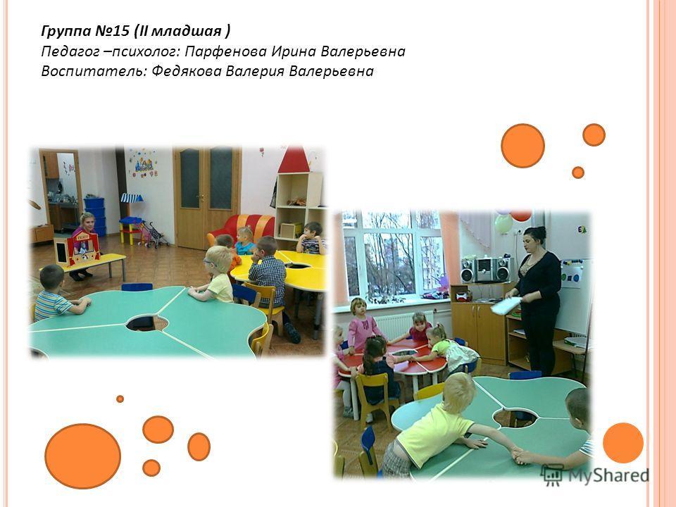 Группа 15 (II младшая ) Педагог –психолог: Парфенова Ирина Валерьевна Воспитатель: Федякова Валерия Валерьевна