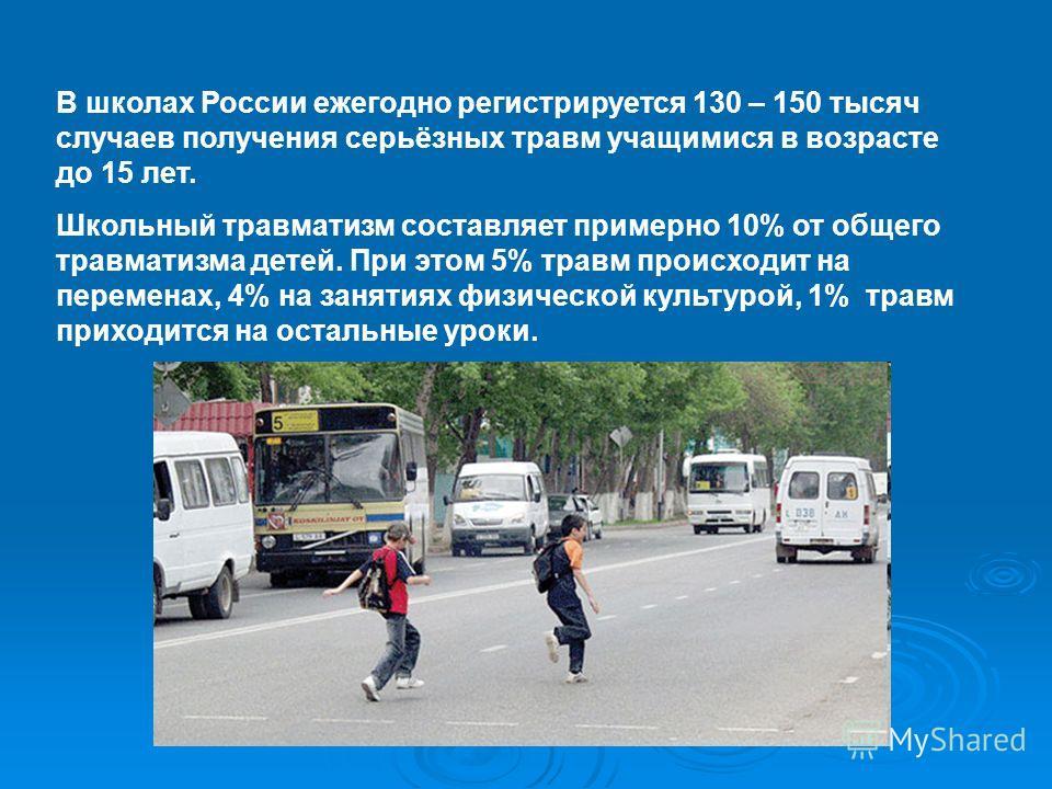 В школах России ежегодно регистрируется 130 – 150 тысяч случаев получения серьёзных травм учащимися в возрасте до 15 лет. Школьный травматизм составляет примерно 10% от общего травматизма детей. При этом 5% травм происходит на переменах, 4% на заняти