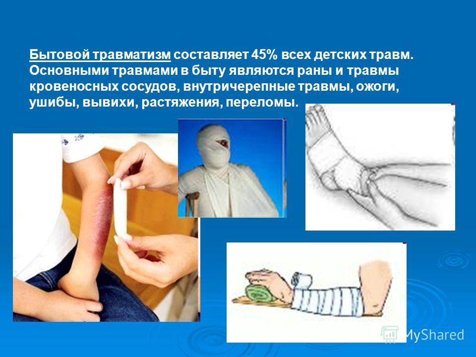 Бытовой травматизм составляет 45% всех детских травм. Основными травмами в быту являются раны и травмы кровеносных сосудов, внутричерепные травмы, ожоги, ушибы, вывихи, растяжения, переломы.