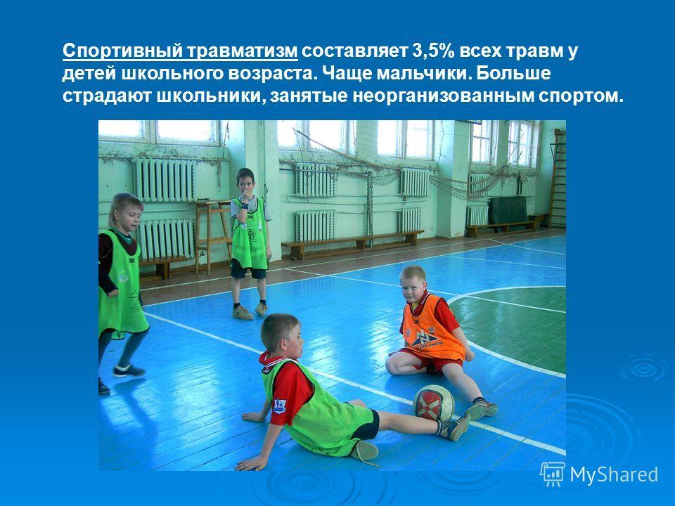 Спортивный травматизм составляет 3,5% всех травм у детей школьного возраста. Чаще мальчики. Больше страдают школьники, занятые неорганизованным спортом.