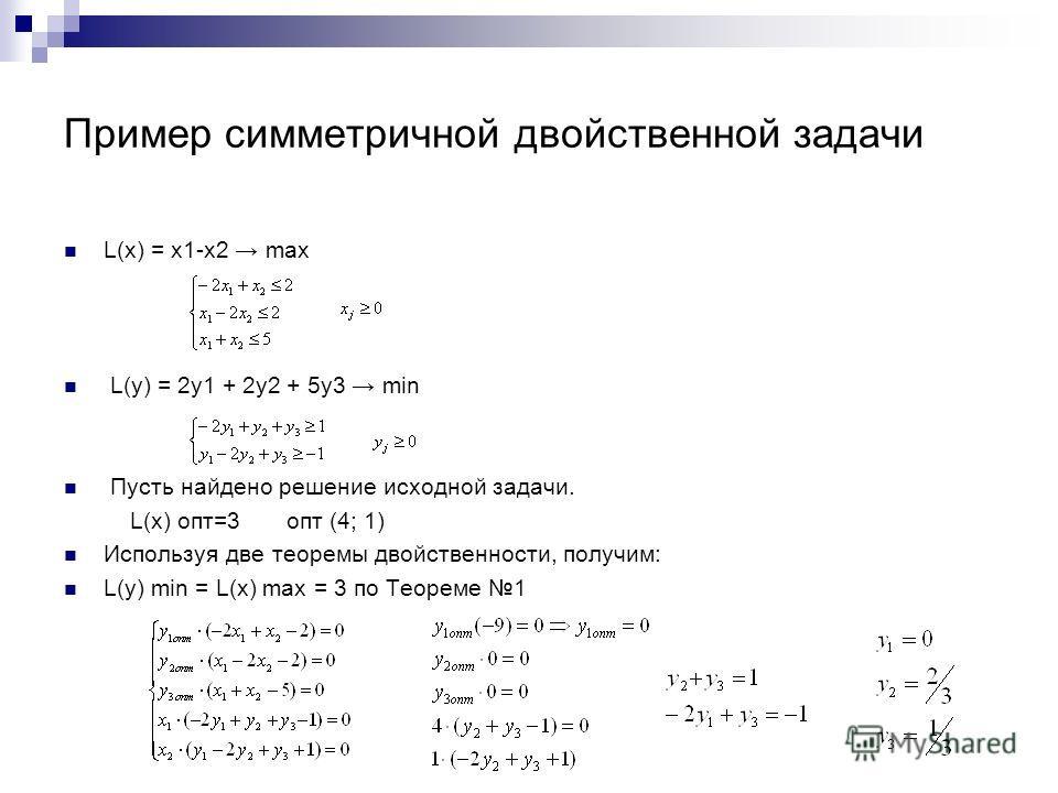 Пример симметричной двойственной задачи L(x) = x1-x2 max L(y) = 2y1 + 2y2 + 5y3 min Пусть найдено решение исходной задачи. L(x) опт=3 опт (4; 1) Используя две теоремы двойственности, получим: L(y) min = L(x) max = 3 по Теореме 1