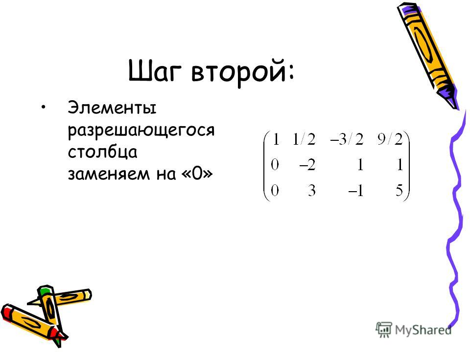 Шаг второй: Элементы разрешающегося столбца заменяем на «0»