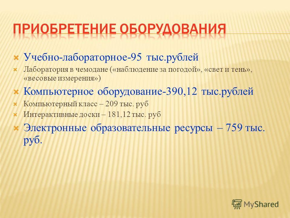 Учебно-лабораторное-95 тыс.рублей Лаборатория в чемодане («наблюдение за погодой», «свет и тень», «весовые измерения») Компьютерное оборудование-390,12 тыс.рублей Компьютерный класс – 209 тыс. руб Интерактивные доски – 181,12 тыс. руб Электронные обр