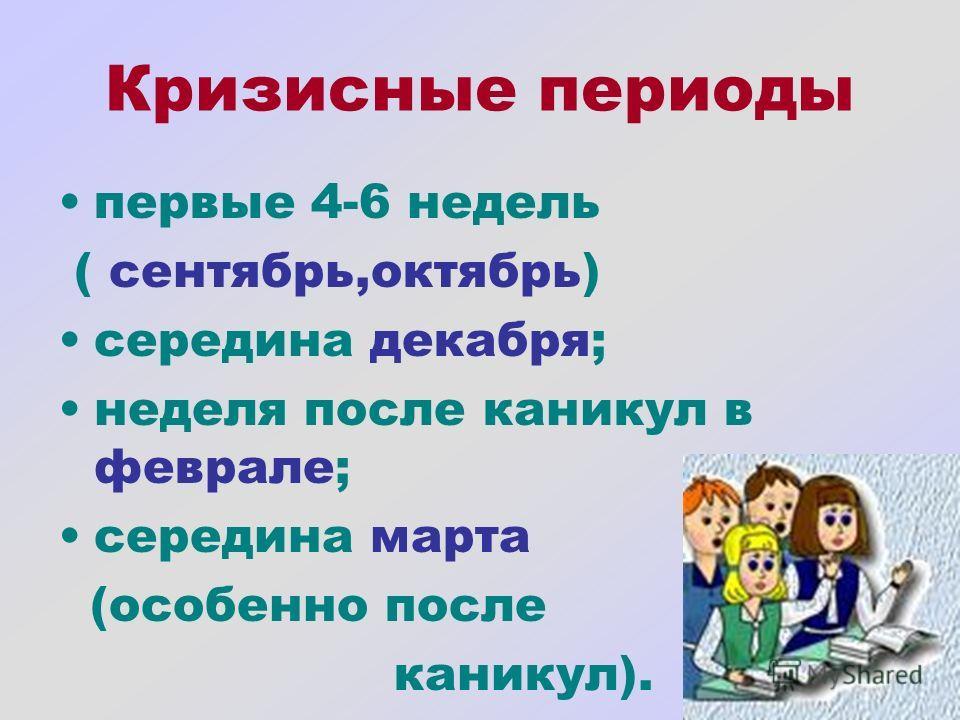 Кризисные периоды первые 4-6 недель ( сентябрь,октябрь) середина декабря; неделя после каникул в феврале; середина марта (особенно после каникул).
