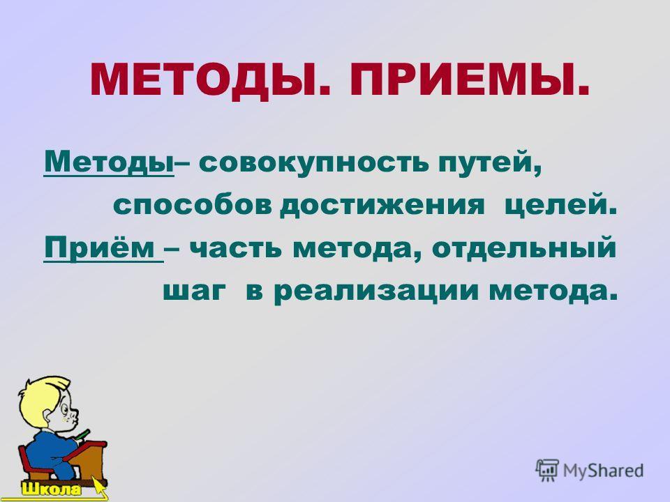 МЕТОДЫ. ПРИЕМЫ. Методы– совокупность путей, способов достижения целей. Приём – часть метода, отдельный шаг в реализации метода.