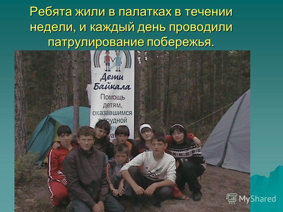 Ребята жили в палатках в течении недели, и каждый день проводили патрулирование побережья.