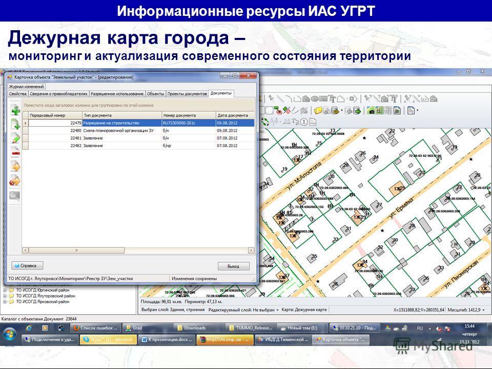 Дежурная карта города – мониторинг и актуализация современного состояния территории Информационные ресурсы ИАС УГРТ