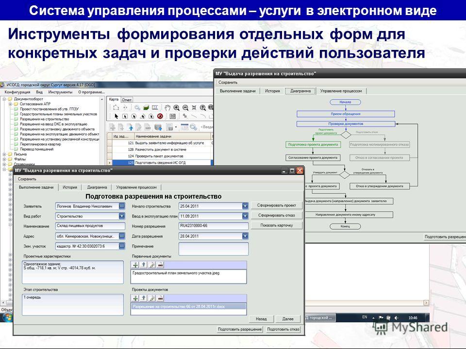 Система управления процессами – услуги в электронном виде Инструменты формирования отдельных форм для конкретных задач и проверки действий пользователя