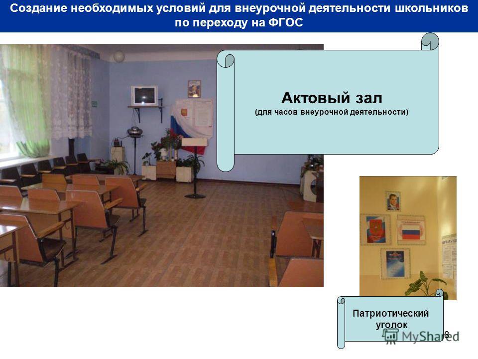 8 Создание необходимых условий для внеурочной деятельности школьников по переходу на ФГОС Актовый зал (для часов внеурочной деятельности) Патриотический уголок