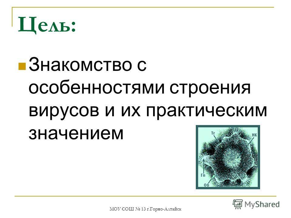 Цель: Знакомство с особенностями строения вирусов и их практическим значением МОУ СОШ 13 г.Горно-Алтайск