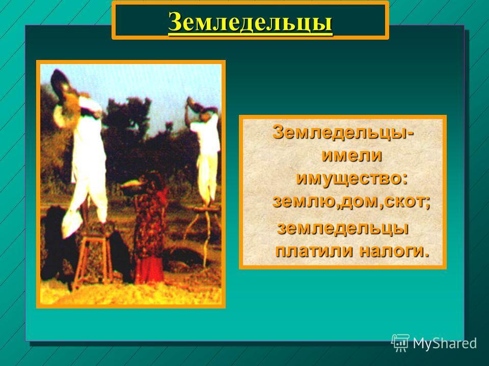 Земледельцы Земледельцы- имели имущество: землю,дом,скот; земледельцы платили налоги.