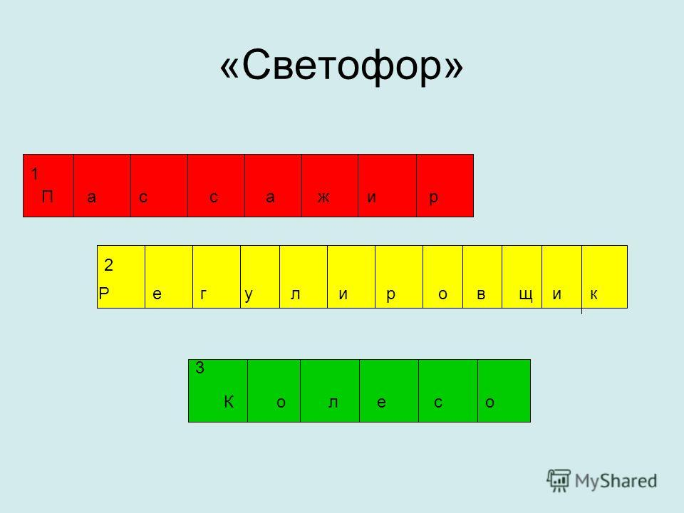 «Светофор» К о л е с о 1 П а с с а ж и р 3 2 Р е г у л и р о в щ и к