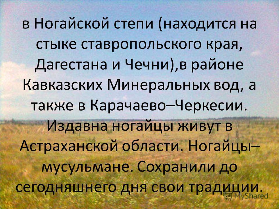 в Ногайской степи (находится на стыке ставропольского края, Дагестана и Чечни),в районе Кавказских Минеральных вод, а также в Карачаево–Черкесии. Издавна ногайцы живут в Астраханской области. Ногайцы– мусульмане. Сохранили до сегодняшнего дня свои тр