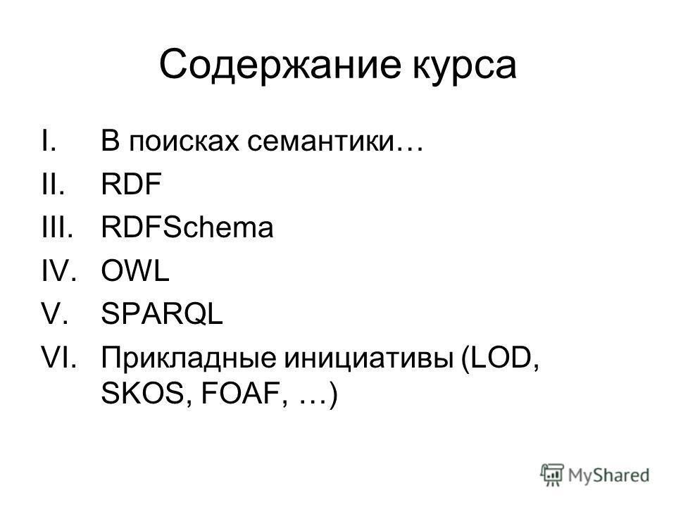 Содержание курса I.В поисках семантики… II.RDF III.RDFSchema IV.OWL V.SPARQL VI.Прикладные инициативы (LOD, SKOS, FOAF, …)