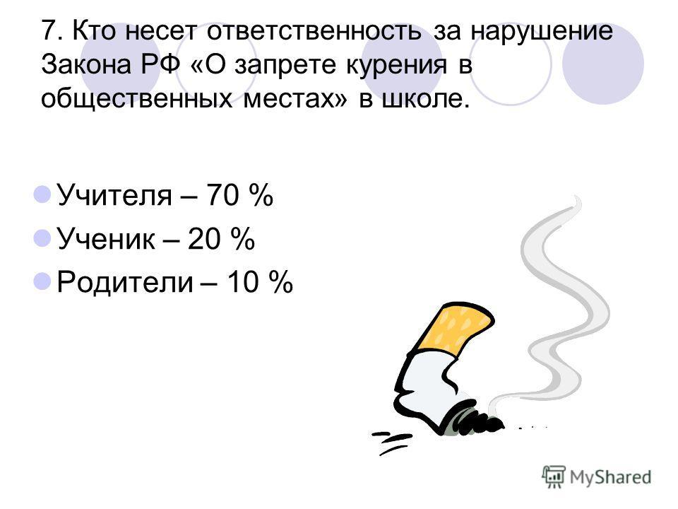 7. Кто несет ответственность за нарушение Закона РФ «О запрете курения в общественных местах» в школе. Учителя – 70 % Ученик – 20 % Родители – 10 %