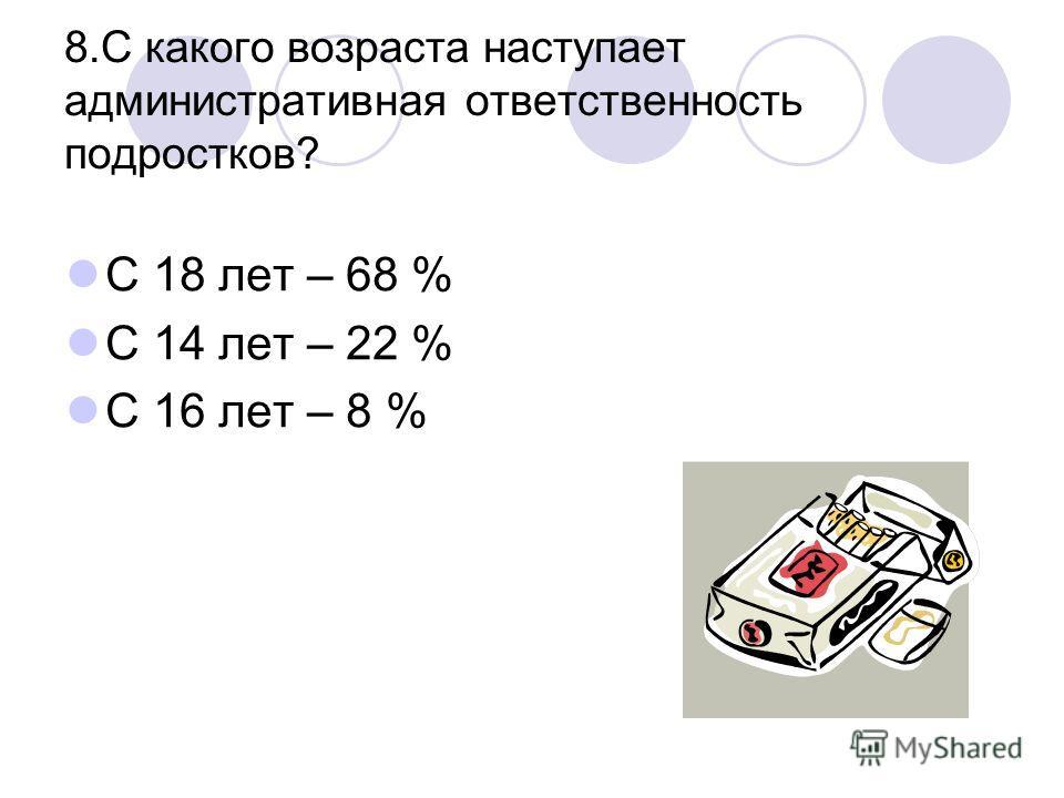 8.С какого возраста наступает административная ответственность подростков? С 18 лет – 68 % С 14 лет – 22 % С 16 лет – 8 %