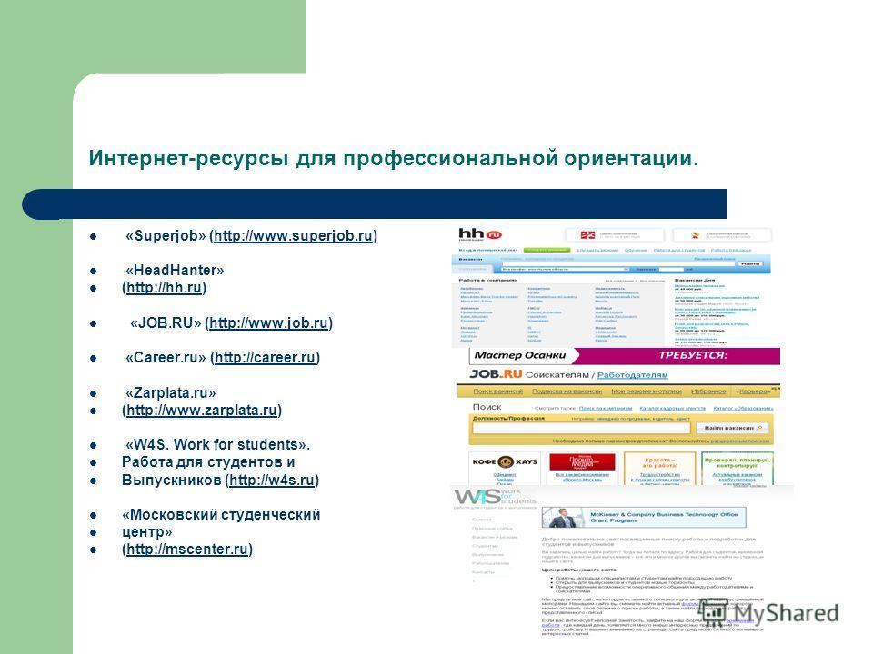 Интернет-ресурсы для профессиональной ориентации. «Superjob» (http://www.superjob.ru)http://www.superjob.ru «HeadHanter» (http://hh.ru)http://hh.ru «JOB.RU» (http://www.job.ru)http://www.job.ru «Career.ru» (http://career.ru)http://career.ru «Zarplata