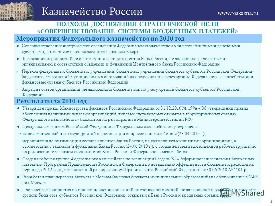 3 ПОДХОДЫ ДОСТИЖЕНИЯ СТРАТЕГИЧЕСКОЙ ЦЕЛИ «СОВЕРШЕНСТВОВАНИЕ СИСТЕМЫ БЮДЖЕТНЫХ ПЛАТЕЖЕЙ» Мероприятия Федерального казначейства на 2010 год Совершенствование инструментов обеспечения Федеральным казначейством клиентов наличными денежными средствами, в