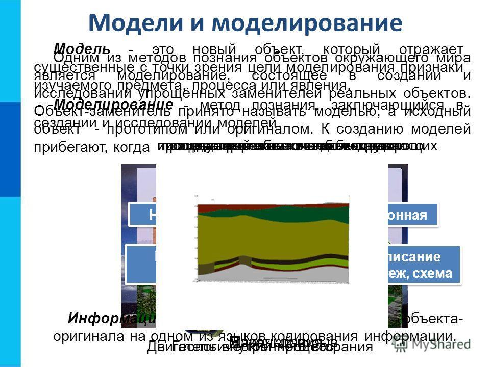 Модели и моделирование Одним из методов познания объектов окружающего мира является моделирование, состоящее в создании и исследовании упрощённых заменителей реальных объектов. Объект-заменитель принято называть моделью, а исходный объект - прототипо