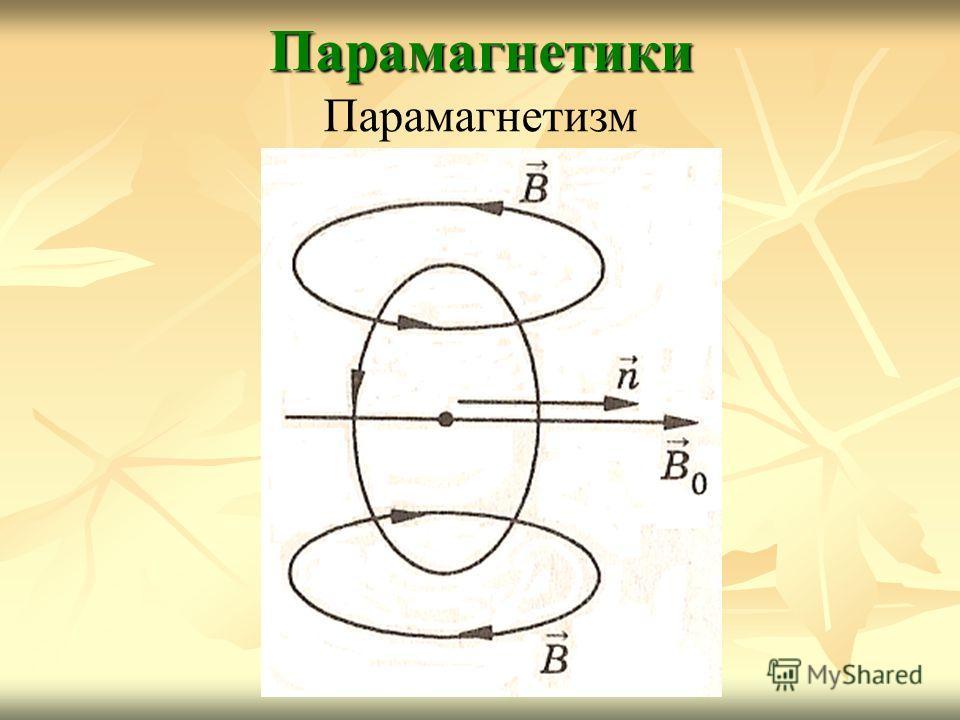 Парамагнетики Парамагнетизм