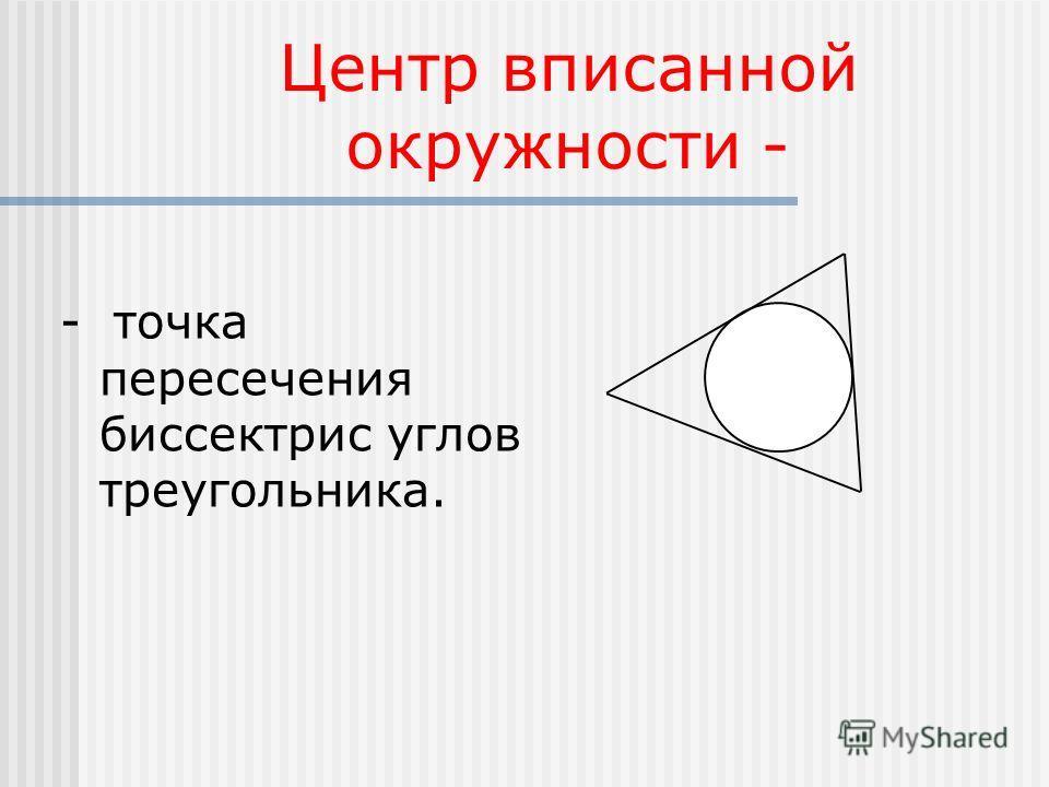 Центр вписанной окружности - - точка пересечения биссектрис углов треугольника.