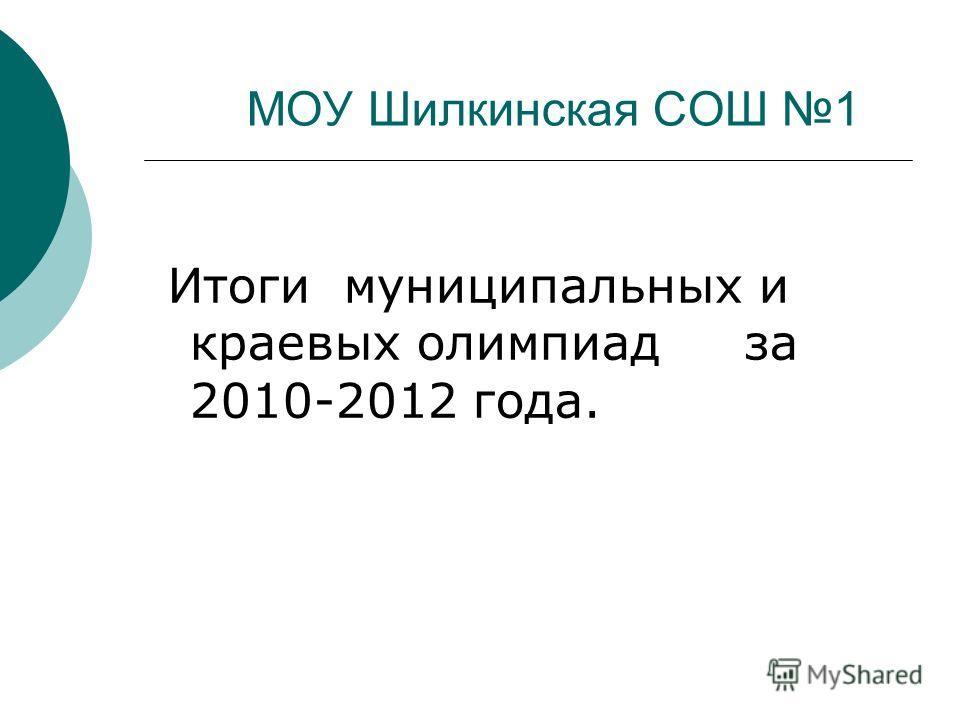 МОУ Шилкинская СОШ 1 Итоги муниципальных и краевых олимпиад за 2010-2012 года.