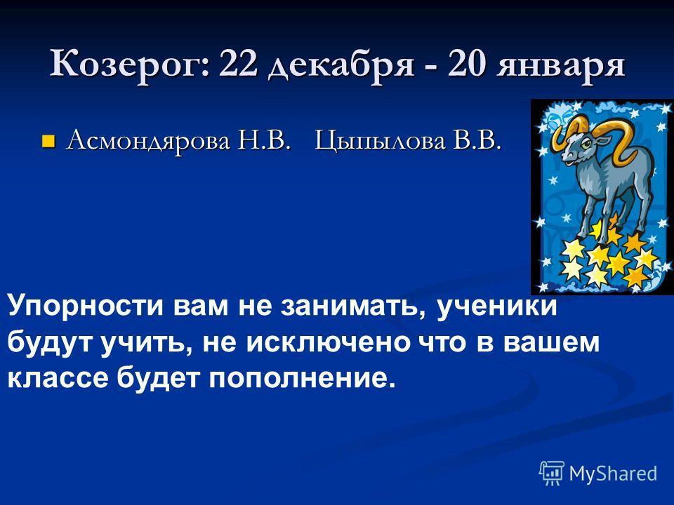 Козерог: 22 декабря - 20 января Асмондярова Н.В. Цыпылова В.В. Асмондярова Н.В. Цыпылова В.В. Упорности вам не занимать, ученики будут учить, не исключено что в вашем классе будет пополнение.