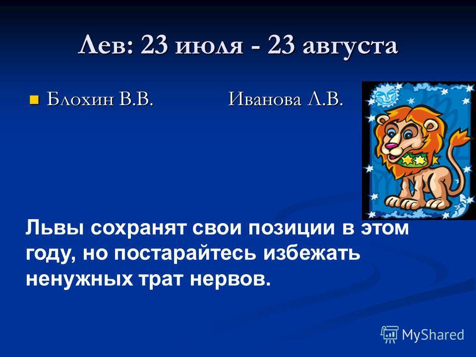 Лев: 23 июля - 23 августа Блохин В.В. Иванова Л.В. Блохин В.В. Иванова Л.В. Львы сохранят свои позиции в этом году, но постарайтесь избежать ненужных трат нервов.