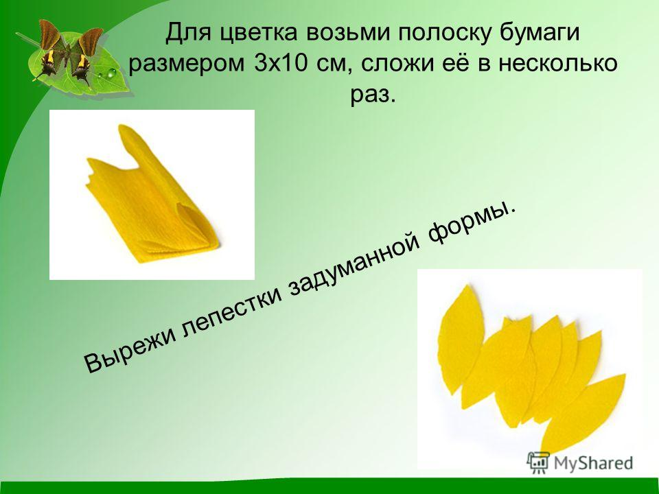 Для цветка возьми полоску бумаги размером 3х10 см, сложи её в несколько раз. Вырежи лепестки задуманной формы.