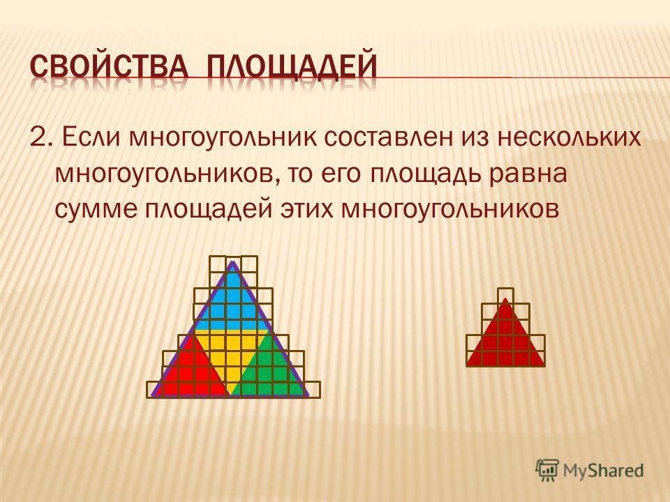 2. Если многоугольник составлен из нескольких многоугольников, то его площадь равна сумме площадей этих многоугольников