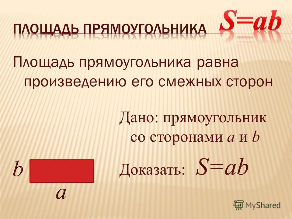 Площадь прямоугольника равна произведению его смежных сторон Дано: прямоугольник со сторонами а и b Доказать: S=ab