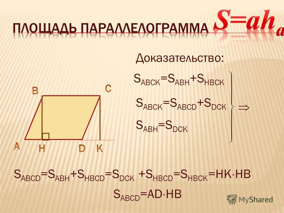 Доказательство: S ABCK =S ABH +S HBCK S ABCK =S ABCD +S DCK S ABH =S DCK S ABCD =S ABH +S HBCD =S DCK +S HBCD =S HBCK =HK HB S ABCD =AD HB