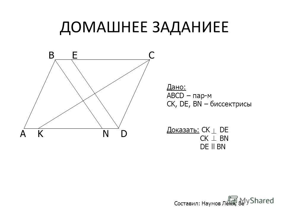 Дано: ABCD – пар-м CK, DE, BN – биссектрисы Доказать: CK DE CK BN DE ll BN A K N D B E C Составил: Наумов Лёня, 8е ДОМАШНЕЕ ЗАДАНИЕЕ