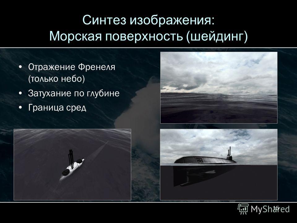 15 Синтез изображения: Морская поверхность (шейдинг) Отражение Френеля (только небо) Затухание по глубине Граница сред