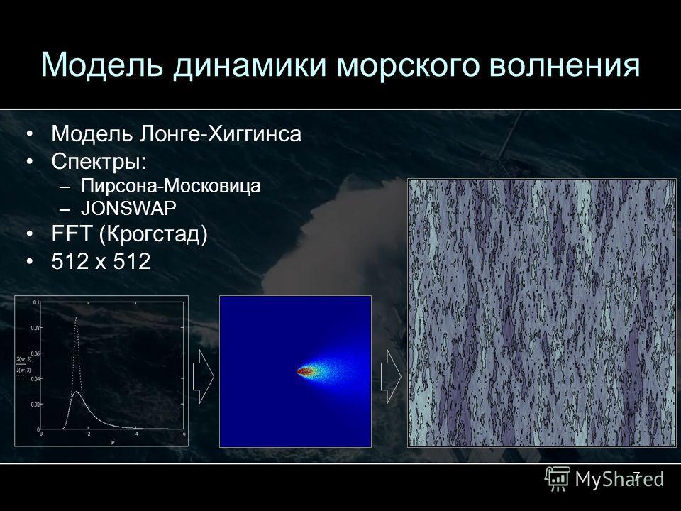 7 Модель динамики морского волнения Модель Лонге-Хиггинса Спектры: –Пирсона-Московица –JONSWAP FFT (Крогстад) 512 x 512