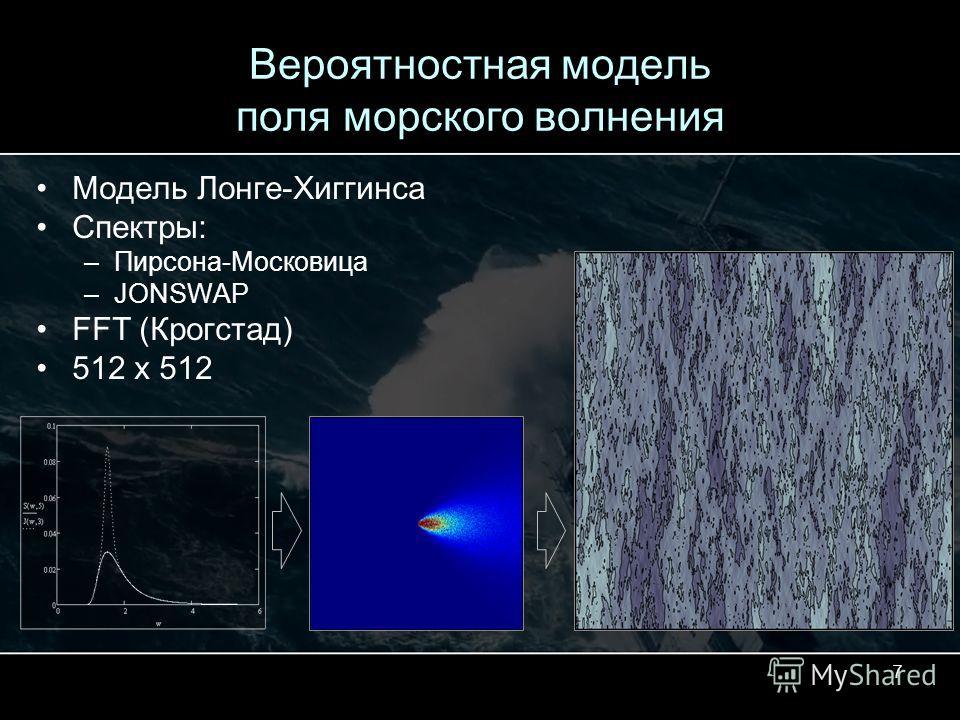 7 Вероятностная модель поля морского волнения Модель Лонге-Хиггинса Спектры: –Пирсона-Московица –JONSWAP FFT (Крогстад) 512 x 512