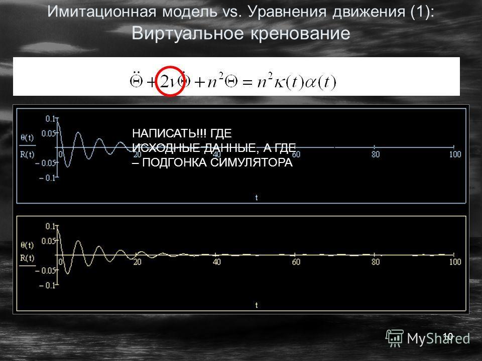 10 Имитационная модель vs. Уравнения движения (1): Виртуальное кренование НАПИСАТЬ!!! ГДЕ ИСХОДНЫЕ ДАННЫЕ, А ГДЕ – ПОДГОНКА СИМУЛЯТОРА