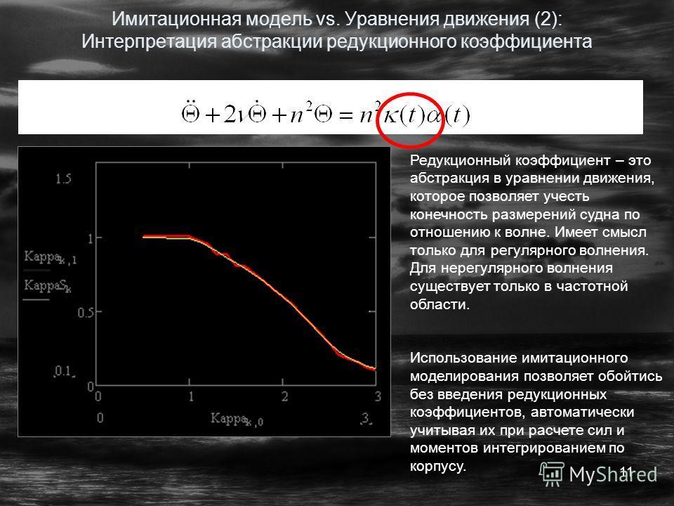 11 Имитационная модель vs. Уравнения движения (2): Интерпретация абстракции редукционного коэффициента Редукционный коэффициент – это абстракция в уравнении движения, которое позволяет учесть конечность размерений судна по отношению к волне. Имеет см
